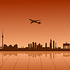 Vector clipart: Airplane flying over Berlin
