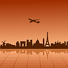 Vector clipart: Airplane flying over Paris