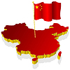 three-dimensional image map of China with national flag