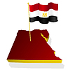 three-dimensional image map of Egypt with national flag