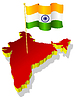 three-dimensional image map of India with national flag