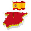 map of Spain with national flag