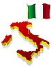 three-dimensional image map of Italy with national flag