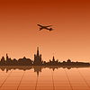 Vector clipart: urban landscape of Moscow with airplane
