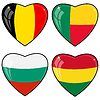 Set of hearts with flags