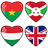 Set of hearts with flags of Burkina Faso, G