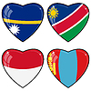 Vector clipart: Set of hearts with flags