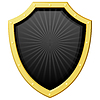 Vector clipart: dark shield with golden frame