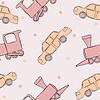 Векторный клипарт: Бесшовные текстуры с детских автомобилей и локомотивов с
