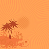 Vector clipart: background with palm trees, sun and swirls