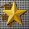 Gold star on metal background with holes