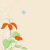 Vector clipart: Background with stylized flowers and butterfly.
