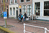 Family bike rides on morning of city. Delft. Netherlands | Stock Foto