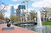 Bridge and fountain on canal in Rotterdam | Stock Foto