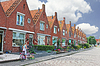 In courtyard of typical Dutch houses | Stock Foto