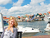 Girl at port of Volendam. Netherlands   Stock Foto