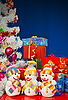 Three snowmen and Christmas gifts | Stock Foto
