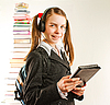 Teen girl with electronic book | Stock Foto