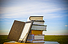 Stack of books with ebook reader | Stock Foto