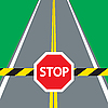 Vector clipart: road barrier and traffic sign STOP