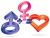 Vector clipart: She plus He equal Love