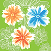 Vector clipart: Abstract Flowers on green color background