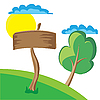 Vector clipart: Wooden board sign with clouds, sun and tree