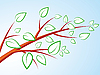 Vector clipart: tree branch with leaves