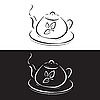 Vector clipart: teapot with leaves symbol on black and white