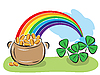 Vector clipart: St. Patrick Day pot with coins, rainbow and shamrocks