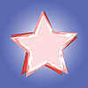 Vector clipart: red star on blue background