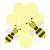Vector clipart: bees on honey cells