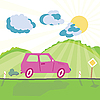 Vector clipart: car on road