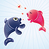 Fish in love | Stock Vector Graphics