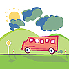 Vector clipart: Bus on the mountain road