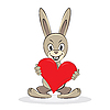 Vector clipart: Cartoon funny rabbit holds big red heart