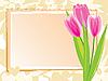 Векторный клипарт: Праздничная карта с розовыми тюльпанами