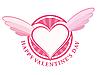 Векторный клипарт: С Днем Святого Валентина печать с сердцем и крылья