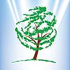 Векторный клипарт: Зеленый дерево на синем небе