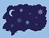 Векторный клипарт: ночь снежинки