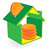 Green home moneybox with coins | Stock Vector Graphics