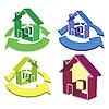 Векторный клипарт: Дом и циклическое стрелки иконки