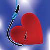 Векторный клипарт: Сердце на рыболовный крючок
