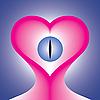 Векторный клипарт: розовое сердце с глазу на синем фоне