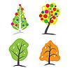 Векторный клипарт: четыре дерева сезон