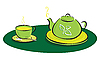 Vector clipart: teapot with leaves symbols and cup