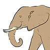 Vector clipart: Elephant head drawing