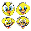 Vector clipart: Set of funny and ugly smilies