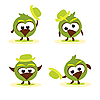 Vector clipart: Set of funny cartoon birds with hat