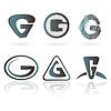 Vector clipart: Set of letter G designs